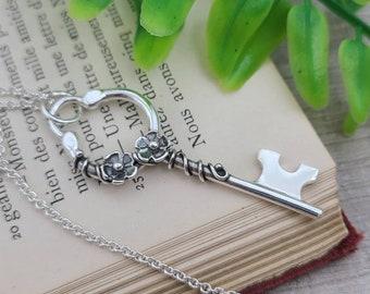 Sterling Silver Flower Skeleton Key Necklace /  Fairy Garden