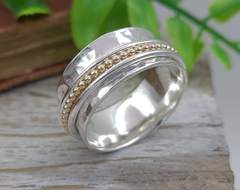 Sterling Silver and Gold Beaded Spinner Ring / Fidget Ring / Meditation Ring / Wide Band Ring