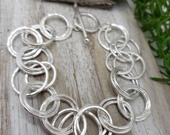 Hammered Sterling Multi Circle Bracelet / Sterling Textured Link Bracelet / Circle Chain Bracelet