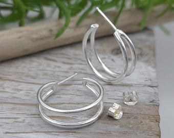 Sterling Double Hoop Earrings