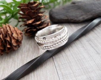 Sterling Silver Spinner Ring / Fidget Ring / Meditation Ring / Wide Band Ring