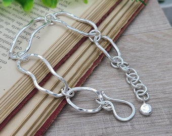 Sterling Silver Freeform Chain Link Bracelet / Hand Forged / Thick