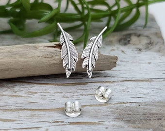 Sterling Silver Feather Stud Earrings / Feather Earrings / Climber Earrings / Post