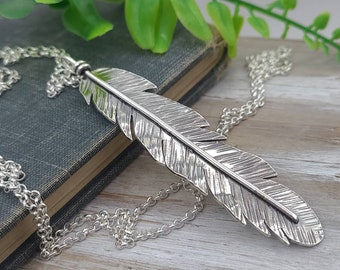 Long Sterling Feather Necklace / Long Necklace / Silver Feather Necklace