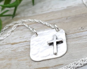 Sterling Silver Hammered Cross Necklace / Faith Necklace