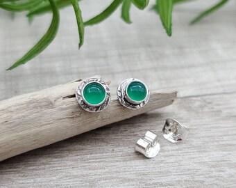 Green Onxy Sterling Stud Earrings / Post
