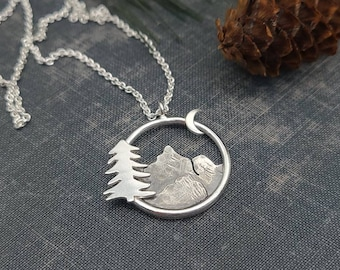 Sterling Silver Mountains Necklace / Nature  / Mountain Scene / Hiker / Camper
