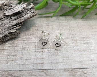 Sterling Disc Heart Stud Earrings