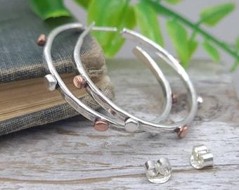 """Sterling Silver and Copper  1""""  Hoop Earrings"""