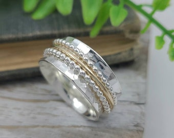 Sterling Silver and Gold Beaded Spinner Ring