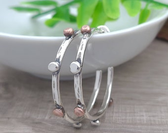 "Sterling Silver and Copper  1""  Hoop Earrings"