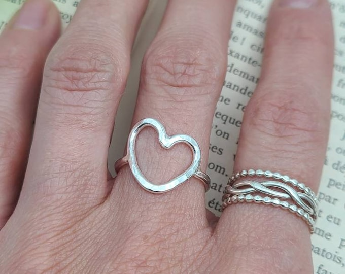 Featured listing image: Sterling Silver Hammered Heart Ring