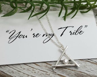 Sterling Silver You're my Tribe Teepee Necklace / Friendship /Best-friend / Family Necklace /Squad / Bridesmaid /Mothers Day