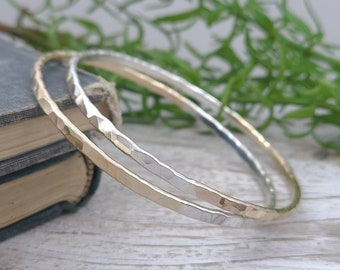 Sterling Silver & Gold Bangle / Mix Metal / Two Tone