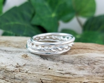 Sterling Silver Twisted Stack Rings / Stack / Sets