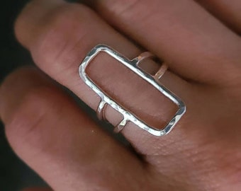 Sterling Silver Rectangle Ring/ Geometric  / Minimalist  / Square