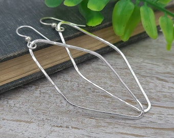 Sterling Silver Marquise Hammered Earrings