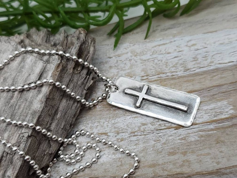 MENS Sterling Silver Cross  Necklace / Rugged Cross / Faith  / image 0