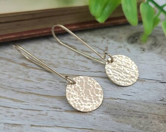 Gold Hammered Disc Threader Earrings / Threaders / Thin Earrings / Arc