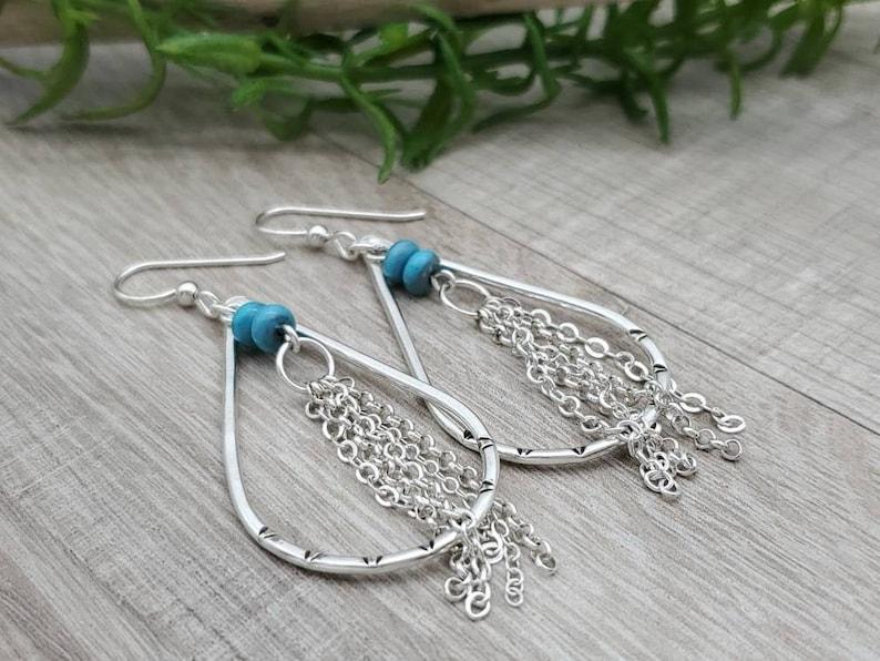 Sterling Silver & Turquoise Teardrop Hoop Earrings image 0