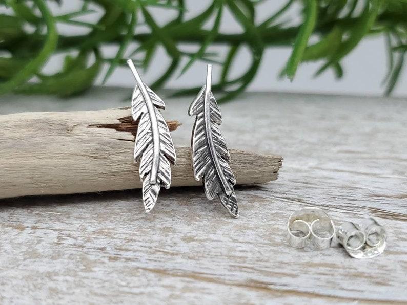 Sterling Silver Feather Stud Earrings / Feather Earrings / image 0