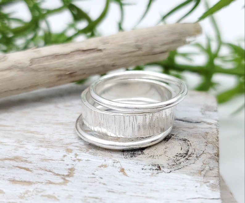 Sterling Hammered Stack Rings Set of 3 image 0