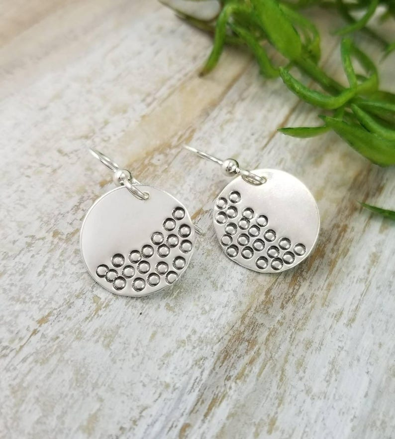 Sterling Silver Disc French-wire Earrings / Hammered Earrings image 0