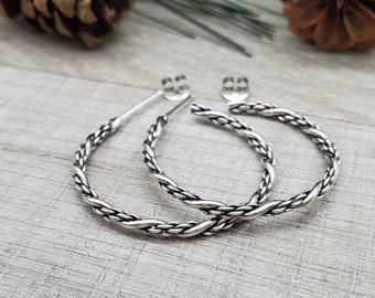 Sterling Triple Twisted Hoop Earrings / Large Hoops
