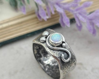 Sterling Silver & Opal Crystal Ring / Luna Fire / One of a Kind / SIZE 6