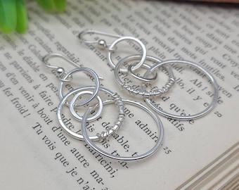 Sterling Silver Wire Wrapped Hoop Earrings / Multi Circle  / Dangle