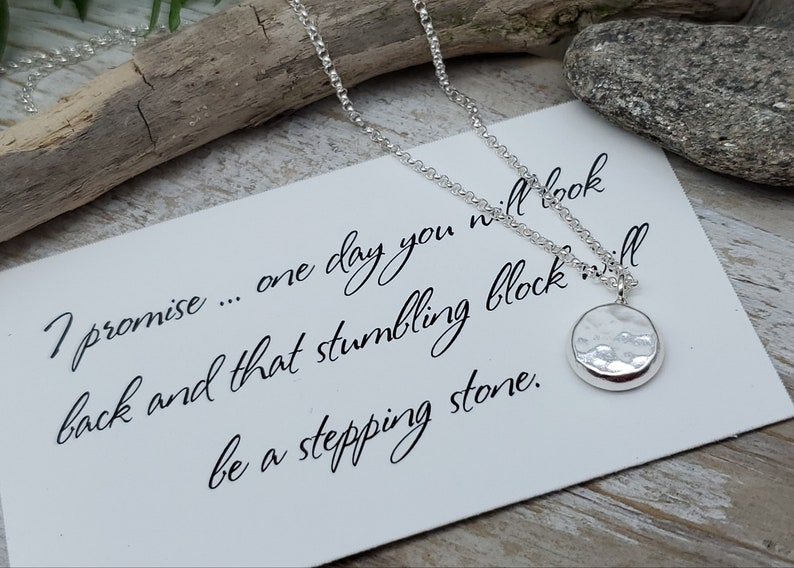 Sterling Silver Stepping Stone Necklace / Believe  / Grief / image 0