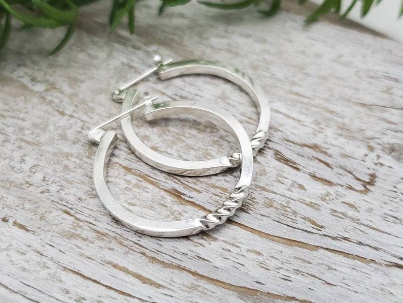 Sterling Twisted Hoop Earrings / Large Hoops image 0