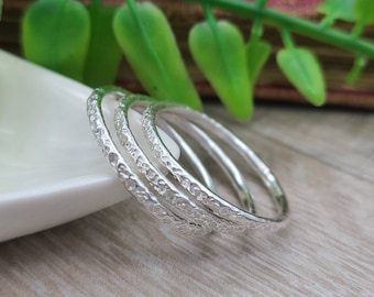 Sterling Silver Stack Rings Set of 3 / Stacker Rings