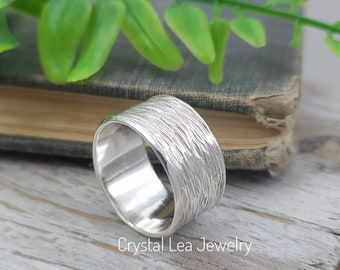 Sterling Silver Hammered Ring / Wide Band / Minimalist  / Textured / Spinner