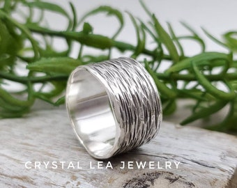 Sterling Silver Hammered Ring / Wide Band / Minimalist  / Rustic / Spinner