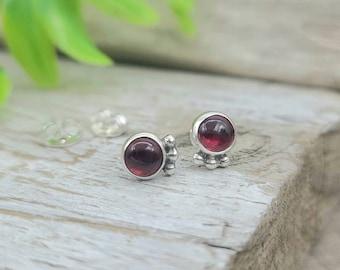 Sterling Garnet Stud Earrings / January Birthstone