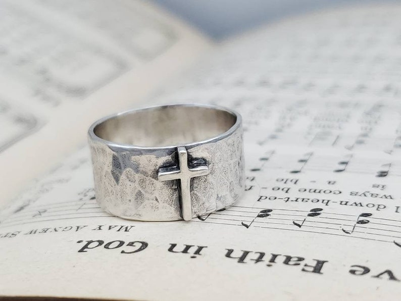 Sterling Old Rugged Cross Ring / Faith / Rustic / image 0