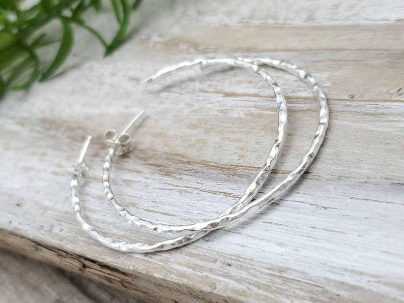 Sterling Hammered Hoop Earrings / Large Hoops/ Faceted image 0