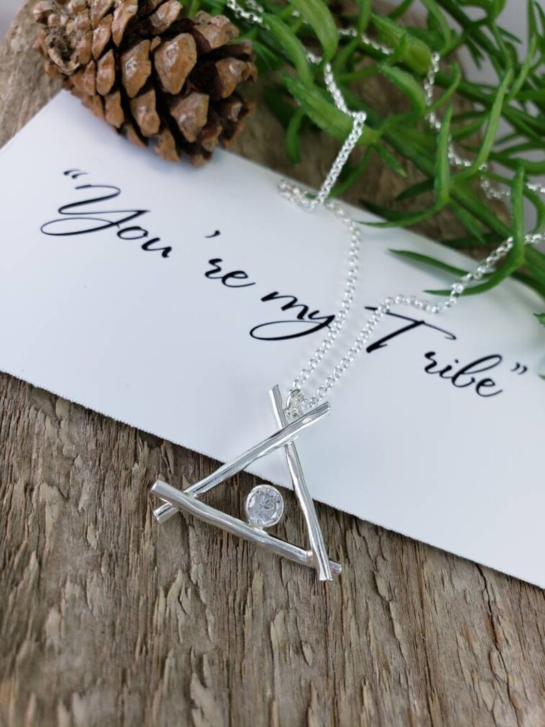 Sterling Silver You/'re my Tribe Teepee Necklace  Friendship Best-friend  Family Necklace Squad  Bridesmaid Mothers Day