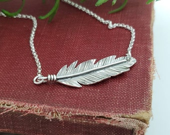 Sterling Silver Sideways Feather Necklace / Bar