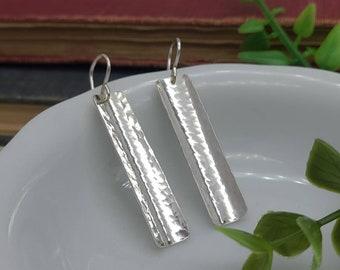 Sterling Silver Domed Hammered Bar Earrings