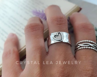 Sterling Heart Ring / Wide Band / Open Heart