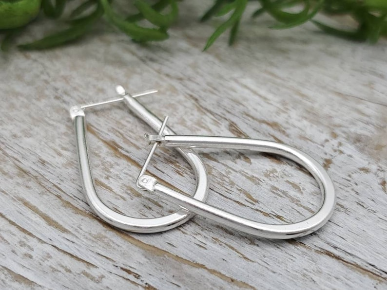 Sterling Silver Teardrop Hoop Earrings image 0