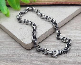 Mens Heavy Thick Sterling Bracelet