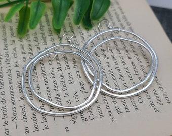 Sterling Silver Organic Hoop Earrings / Multi Circle Earrings / Dangle Earrings