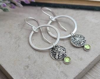 Sterling Silver Peridot Earrings / Sterling Circle Earrings / Ornate