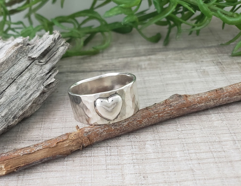 Sterling Wide Band Heart Ring image 0