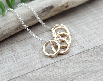 Silver and Dainty Gold Rings Necklace / Personalized Necklace