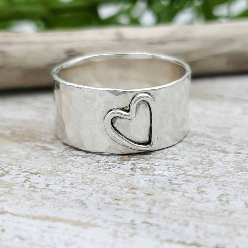 Sterling Open Heart Ring / Wide Band image 0