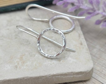 Sterling Silver Hammered Circle Threader Earrings